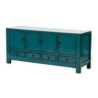 PREORDER 28/12/2020 Antieke Chinese TV-meubel Glanzend Teal B135xD40xH61cm