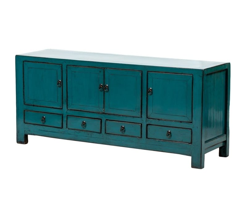 PREORDER 28/12/2020 Antique Chinese TV Cabinet Glossy Teal W135xD40xH61cm