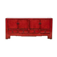 Antique Chinese TV Cabinet Glossy Red W134xD39xH60cm