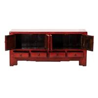 PREORDER 28/12/2020 Antieke Chinese TV-meubel Glanzend Rood B134xD39xH60cm