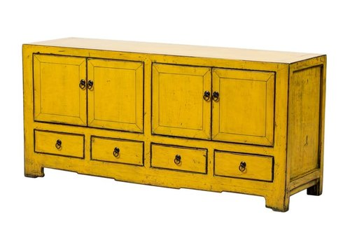 Fine Asianliving Antique Chinese TV Cabinet Glossy Yellow W135xD39xH62cm
