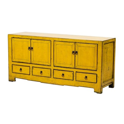 Fine Asianliving Antique Chinese TV Stand Glossy Yellow W135xD39xH62cm