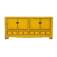 Antique Chinese TV Cabinet Glossy Yellow W135xD39xH62cm