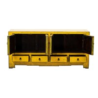 PREORDER 28/12/2020 Antique Chinese TV Cabinet Glossy Yellow W135xD39xH62cm