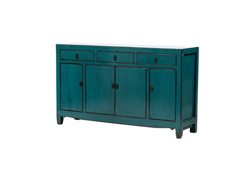 Fine Asianliving Antique Chinese Sideboard Glossy Teal W154xD40xH92cm