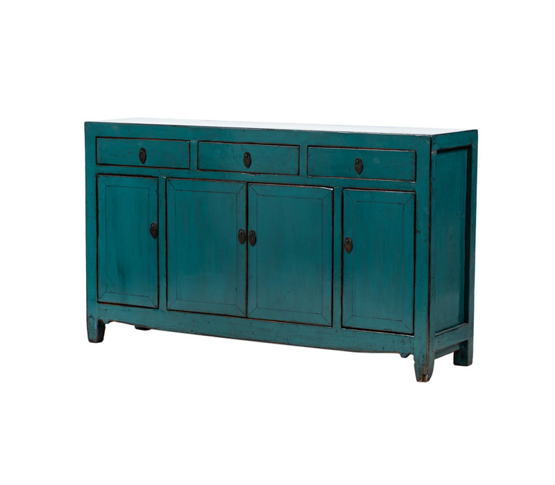 PREORDER 28/12/2020 Antique Chinese Sideboard Glossy Teal W157xD40xH92cm