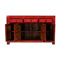 PREORDER 28/12/2020 Antique Chinese Sideboard Glossy Red W156xD40xH93cm