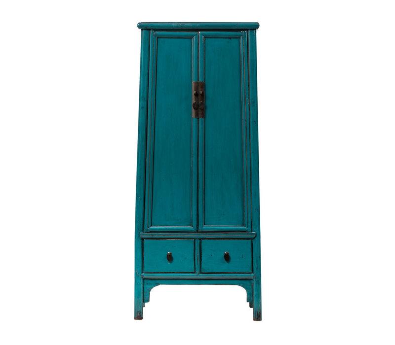 Antieke Chinese Kast Glanzend Aqua Blauw  B70xD45xH190cm
