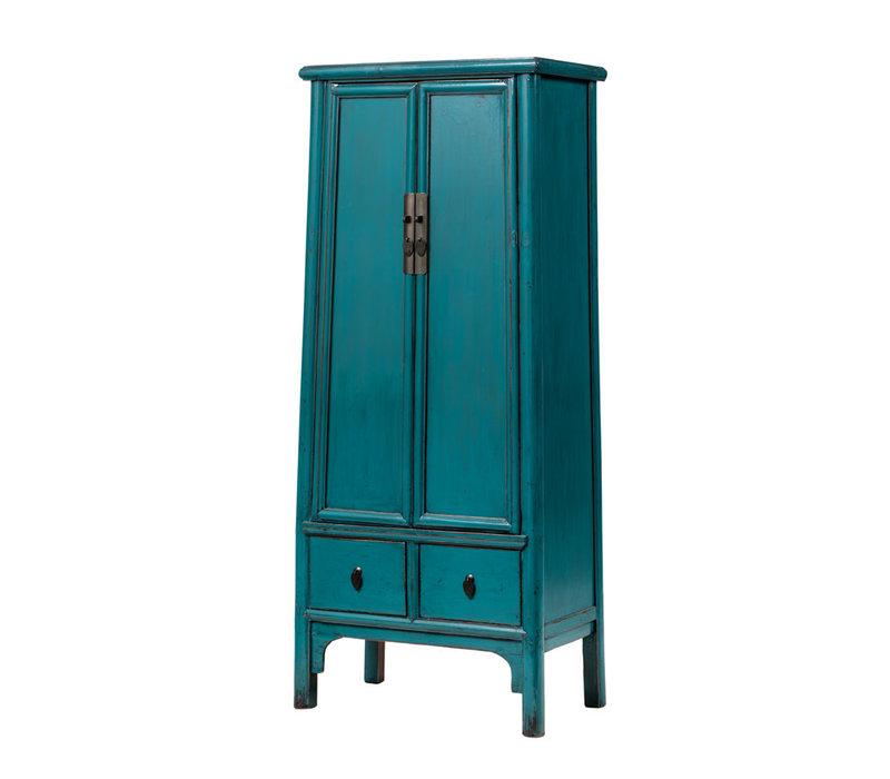 Antique Chinese Cabinet Glossy Aqua Blue W70xD45xH190cm