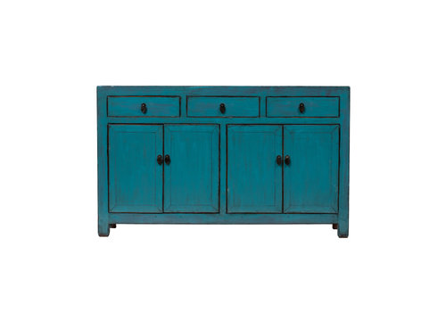 Fine Asianliving PREORDER 28/12/2020 Antique Chinese Sideboard Glossy Blue W155x41xH93cm