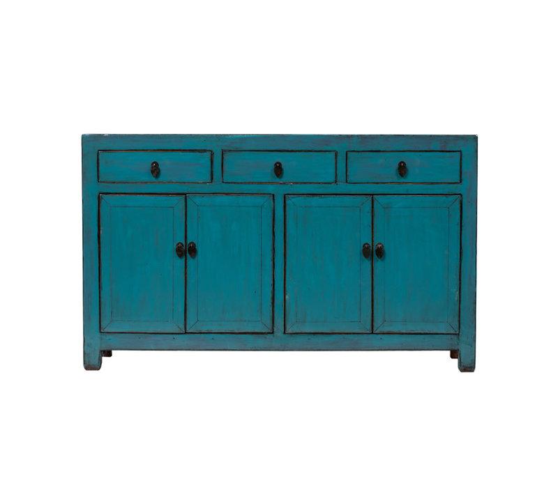 Antieke Chinese Dressoir Glanzend Blauw B155xD41xH93cm