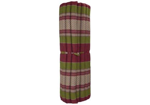 Fine Asianliving Matelas Thaï Enroulable en Coton et Kapok - 100x200cm - Rouge Vert