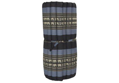 Fine Asianliving Thai Mat Rollable Mattress 190x78x4.5cm Mat Cushion Black Elephants