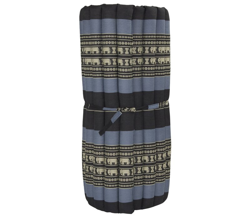 Thai Mat Rollable Matress 190x78x4.5cm Mat Cushion Black Elephants