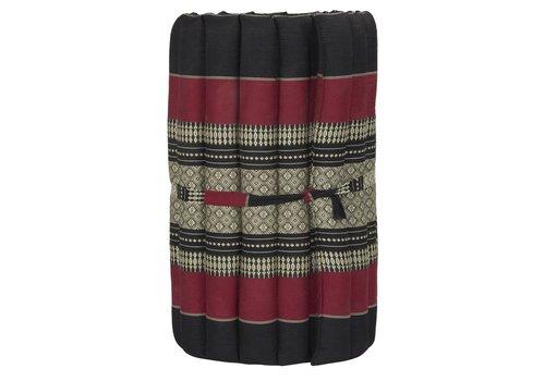 Fine Asianliving Matelas Thaï Enroulable en Coton et Kapok - 50x190cm - Noir Rouge