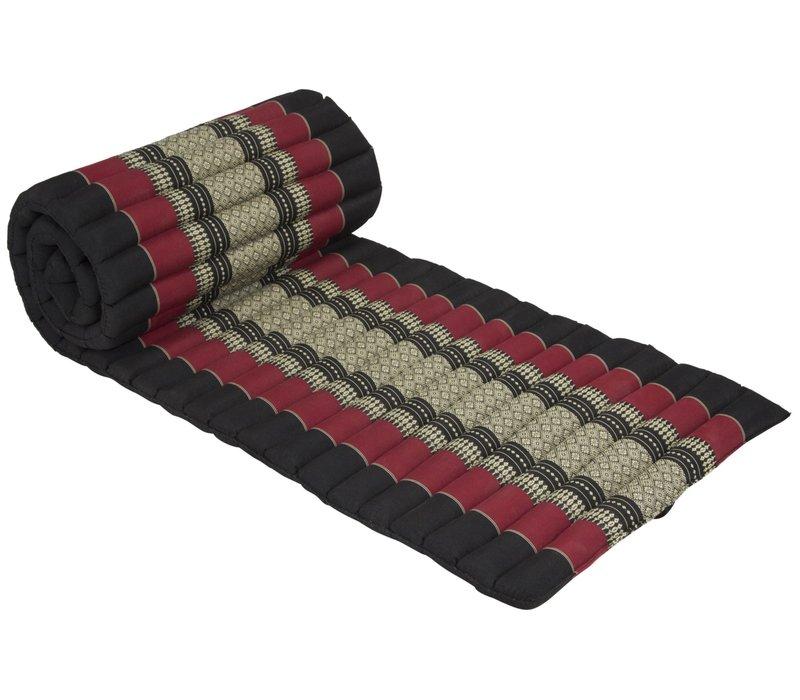 Thaise Mat Oprolbaar Matras 190x50x4.5cm Zwart Rood