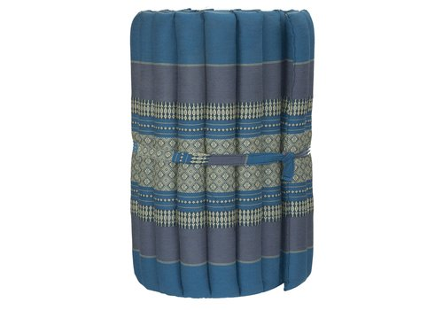 Fine Asianliving Matelas Thaï Enroulable en Coton et Kapok - 50x190cm - Bleu Ciel
