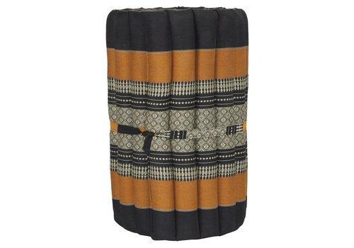 Fine Asianliving Thaimatte Rollbar Kapokfüllung 190x50x4.5cm Schwarz Orange