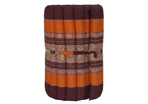 Fine Asianliving Thaimatte Rollbar Kapokfüllung 190x50x4.5cm Burgund orange