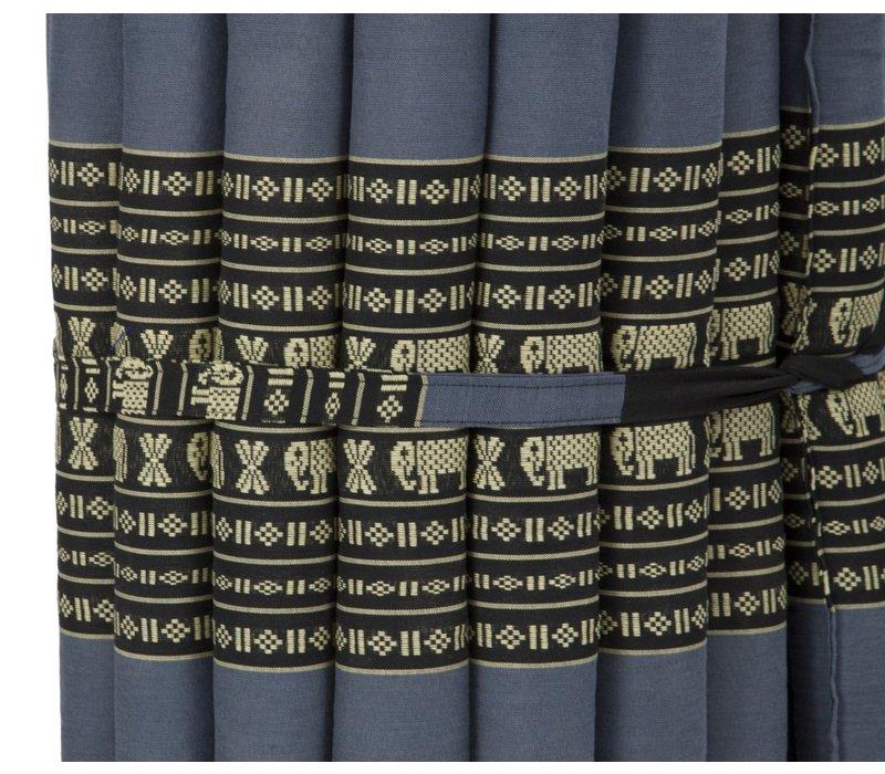 Thaise Mat Oprolbaar Matras 190x50x4.5cm Zwart Olifanten
