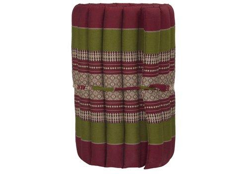 Fine Asianliving Thaimatte Rollbar Kapokfüllung 190x50x4.5cm Burgunder Grün