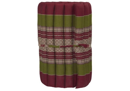 Fine Asianliving Thaise Mat Oprolbaar Matras 190x50x4.5cm Bordeaux Groen
