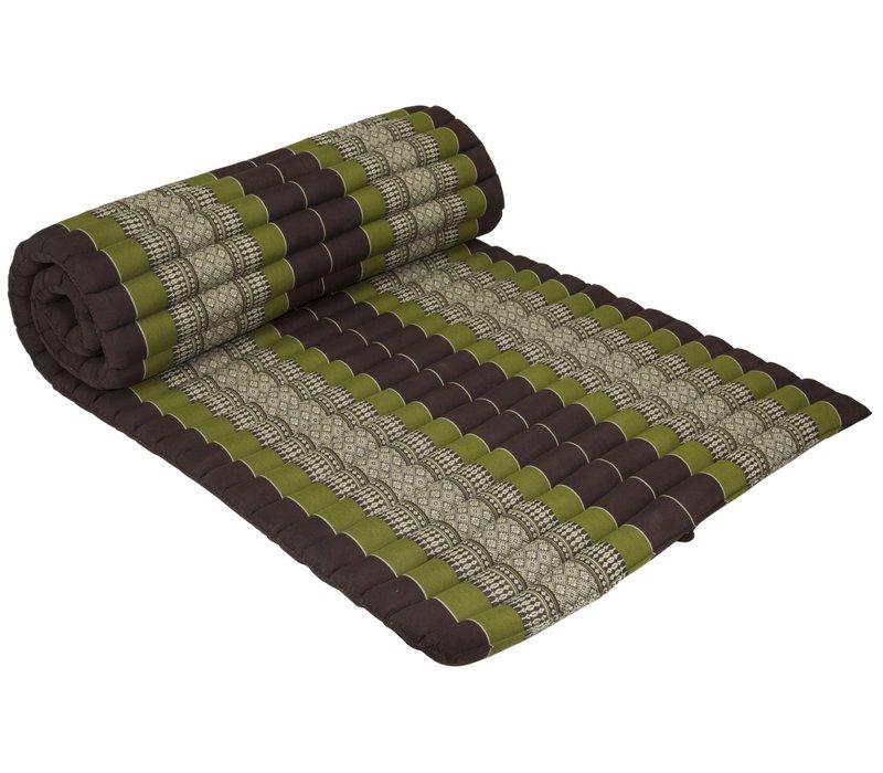 Fine Asianliving Rollbare Thai Sitzmatte 80x200cm aus Kapok Yoga Meditation Thaikissen Grün