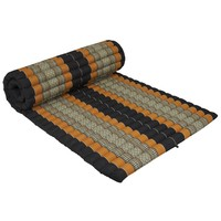 Thai Mat Rollable Matress 190x78x4.5cm Mat Cushion Black Orange