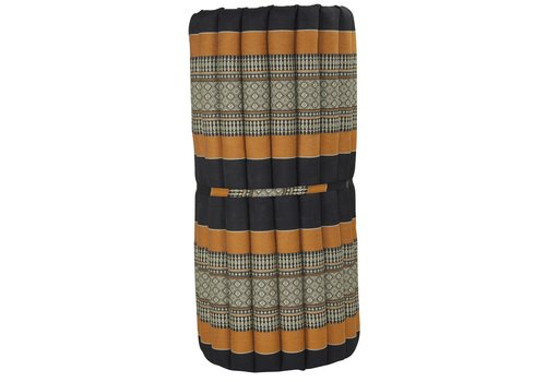 Fine Asianliving Thai Mat Rollable Mattress 190x78x4.5cm Mat Cushion Black Orange