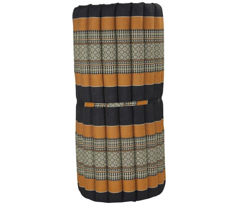 Thaimatte Rollbar Kapokfüllung 190x78x4.5cm Schwarz Orange
