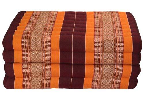 Fine Asianliving Colchón Tailandés de 4 Pliegues Plegable 80x200cm XXXL Rojo Naranja
