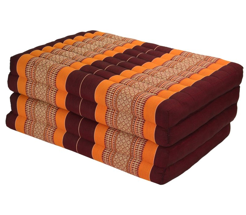 Thai Cushion Matress 4-folded 80x200cm Mat Cushion XXXL Burgundy Orange