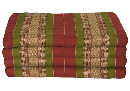 Fine Asianliving Colchón Tailandés de 4 Pliegues Plegable 80x200cm XXXL Rojo Verde