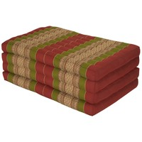 Thai Cushion Matress 4-folded 80x200cm Mat Cushion XXXL Burgundy Green