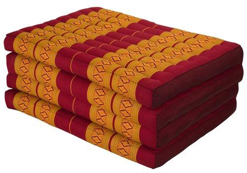 Fine Asianliving Colchón Tailandés de 4 Pliegues Plegable 80x200cm XXXL Naranja