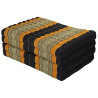 Thai Cushion Matress 4-folded 80x200cm Mat Cushion XXXL Black Orange