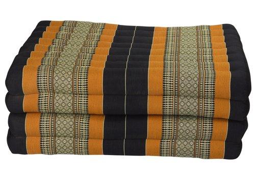 Fine Asianliving Colchón Tailandés de 4 Pliegues Plegable 80x200cm XXXL Negro Naranja
