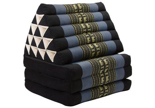 Fine Asianliving Coussin Thaï Triangulaire avec Matelas 3 Parties XL - 56x180cm - Noir