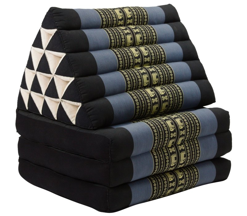 Thai Triangle Cushion Mattress Foldable XL Black Elephants