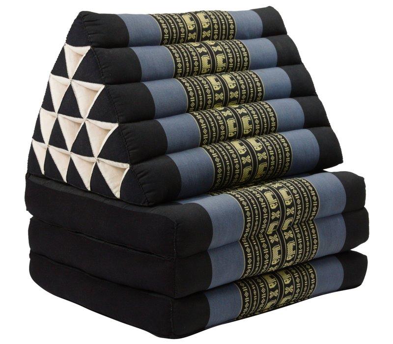 Thais Kussen Meditatie Driehoek Vloer Ligmat Yoga Uitklapbaar Kapok XL Zwarte Olifanten