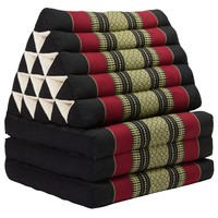 Thai Mattress Triangle Cushion Headrest 3-Fold Meditation Mat Jumbo Lounge Kapok XL Red