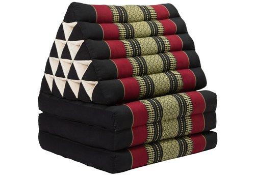 Fine Asianliving Coussin Thaï Triangulaire avec Matelas 3 Parties XL - 56x180cm - Rouge