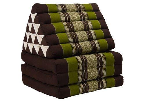 Fine Asianliving Coussin Thaï Triangulaire avec Matelas 3 Parties XL - 56x180cm - Vert