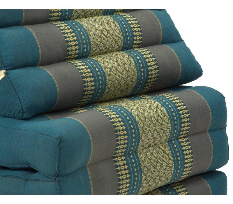 Fine Asianliving Thai Kissen mit Dreieck-Kissen 3 Auflagen Falt-Matratze Boden-Liege-Matte Sitzkissen Thaimatte Kapok Jumbo XL Blau
