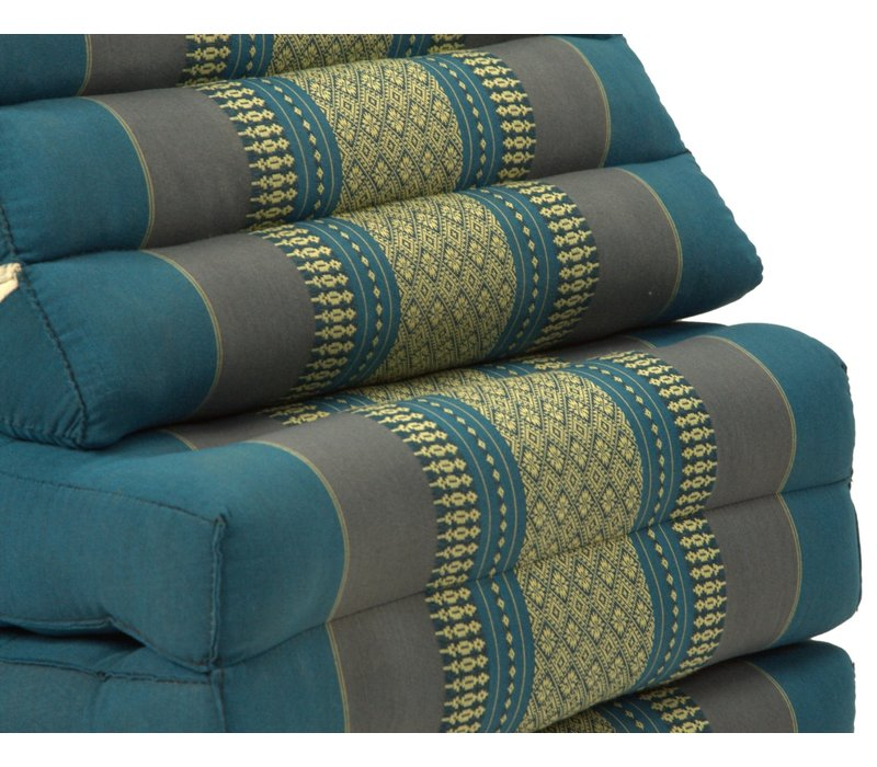 Thai Kissen mit Dreieck-Kissen 3 Auflagen Falt-Matratze Boden-Liege-Matte Sitzkissen Thaimatte Kapok Jumbo XL Blau