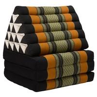 Thais Kussen Meditatie Driehoek Vloer Ligmat Yoga Uitklapbaar Kapok XL Zwart Oranje