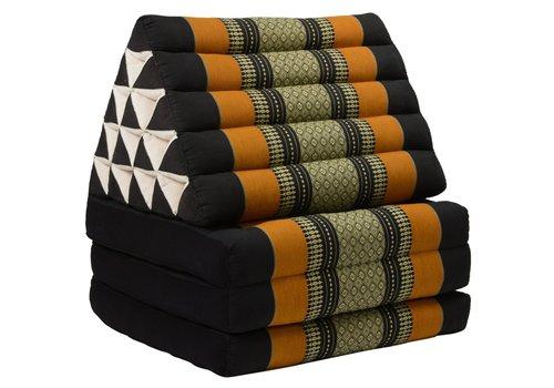 Fine Asianliving Coussin Thaï Triangulaire avec Matelas 3 Parties XL - 56x180cm - Noir Orange