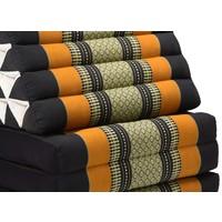Thaikissen Dreieckskissen 3 Auflagen Kapokfüllung XL Schwarz Orange