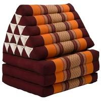Thais Kussen Meditatie Driehoek Vloer Ligmat Yoga Uitklapbaar Kapok XL Bordeaux Oranje