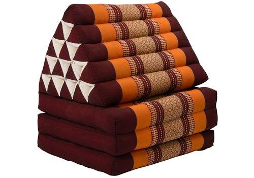 Fine Asianliving Coussin Thaï Triangulaire avec Matelas 3 Parties XL - 56x180cm - Rouge Orange